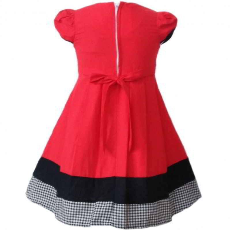 Dress Baju Anak 2526 warna Merah tampak Belakang