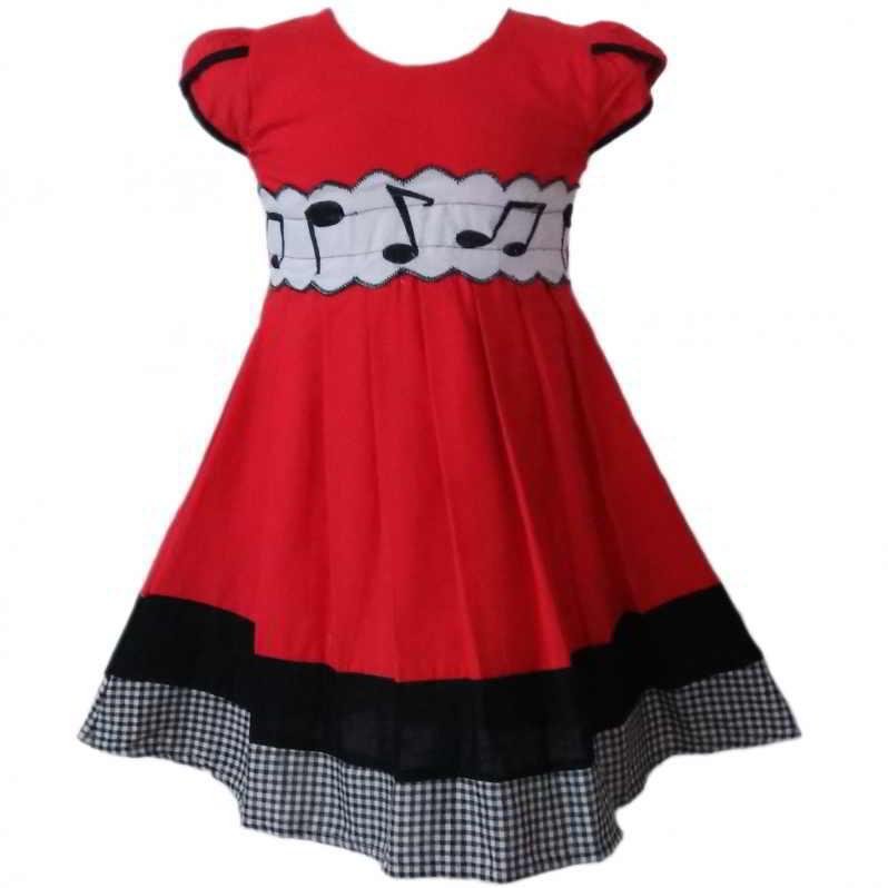 Dress Baju Anak 2526 warna Merah tampak Depan
