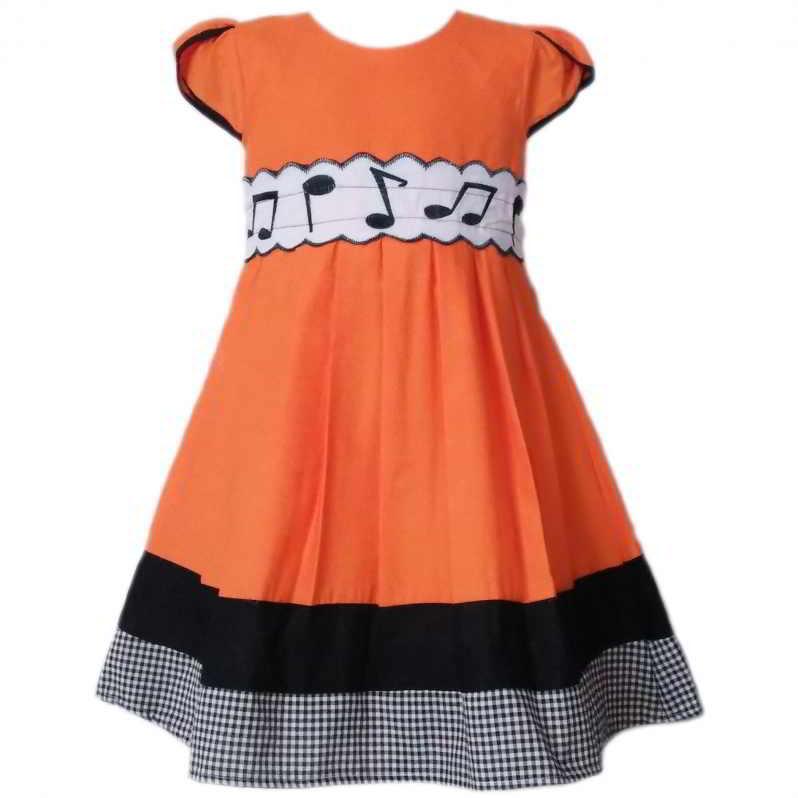 Dress Baju Anak 2526 warna Orange tampak Depan