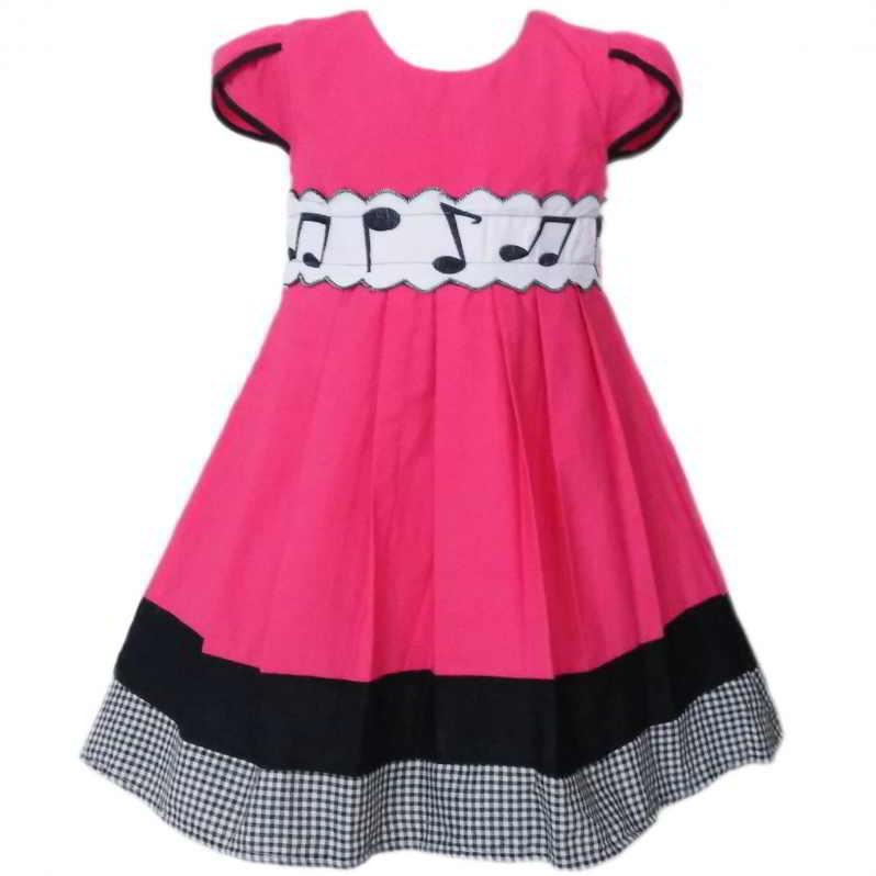 Dress Baju Anak 2526 warna Pink tampak Depan