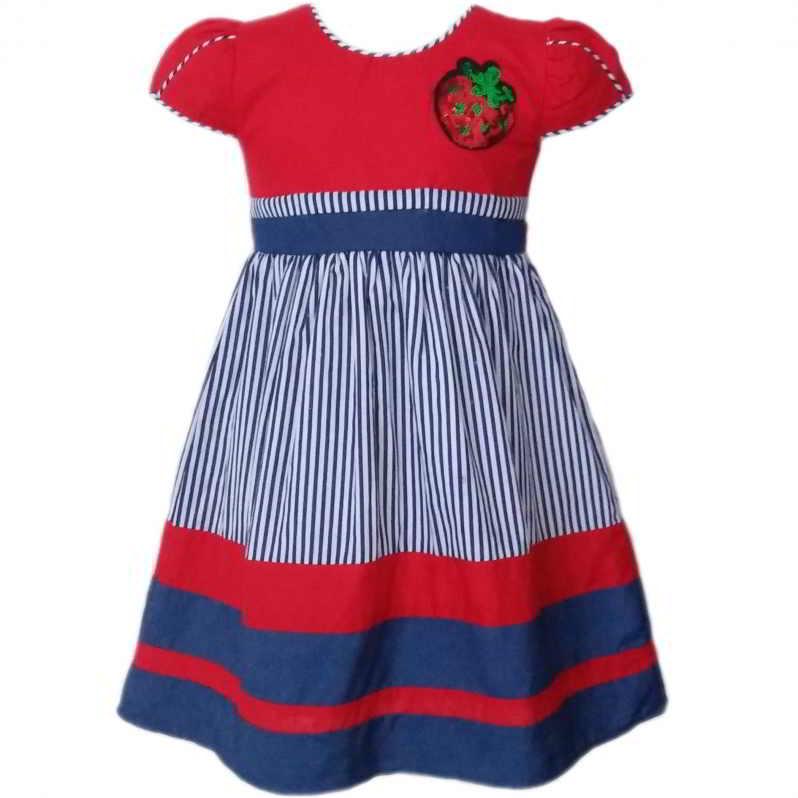 Dress Baju Anak 2583 warna Merah tampak Depan