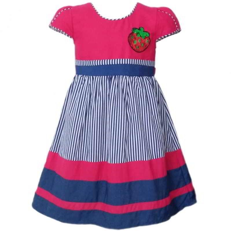 Dress Baju Anak 2583 warna Pink tampak Depan