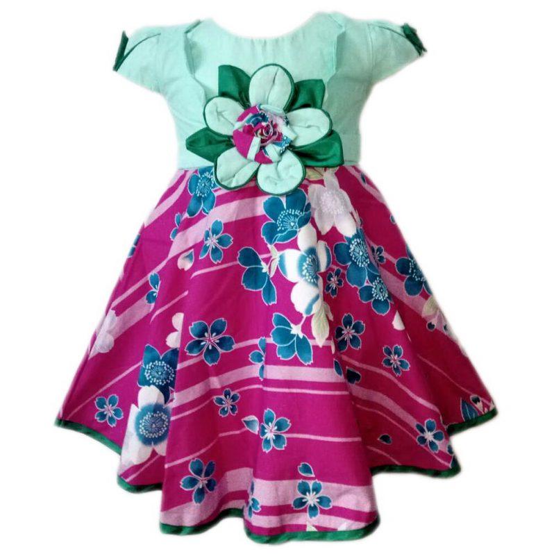 Dress Baju Anak 2593 warna Hijau tampak Depan