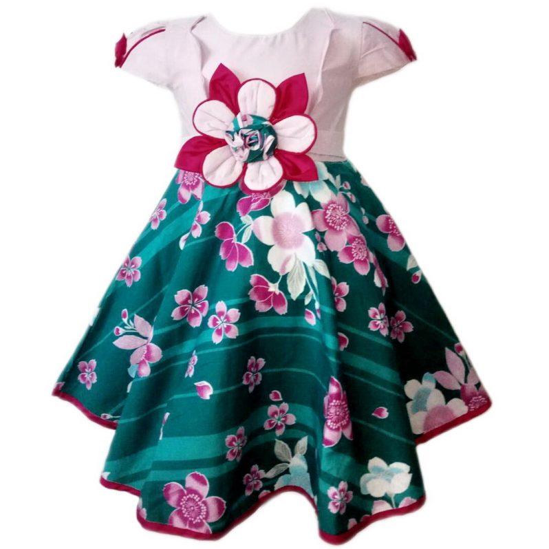 Dress Baju Anak 2593 warna Pink tampak Depan