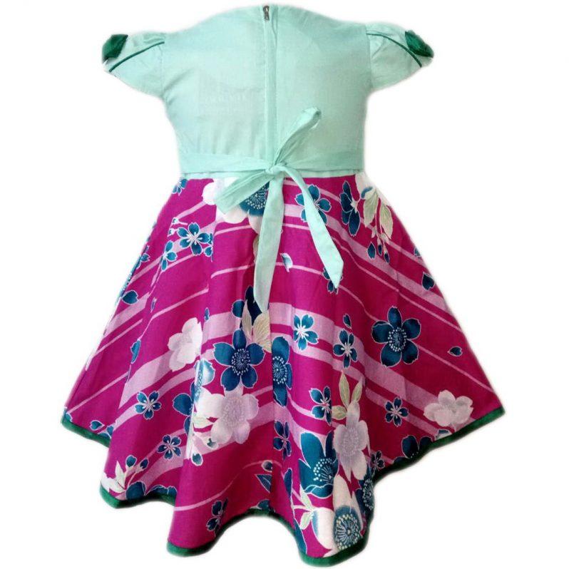 Dress Baju Anak 2593 warna Biru tampak Belakang